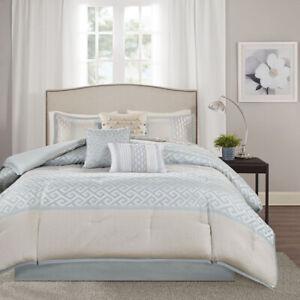 Elegant Silky Aqua Seafoam Stripes Geometric 7 pcs Cal King Queen Comforter set