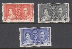 1937 British Honduras Coronation of King George V set of 3 mint stamps