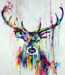 Colourful Stag Picture multi landscape 30x20 Inch Canvas Framed READY TO HANG!UK