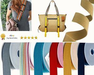 COTTON Webbing 30 mm Bag Handle Strap Belt 100% Cotton Thick 2mm (UK Made)