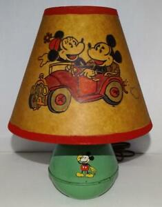 "DISNEY1950's MIC​KEY MOUSE""TIN DESKTOP LAMP+""H​AND-PAINTED""SHADE+SCARCE GREEN VS"