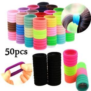 50Pcs Elastic Hair Bands Ties Ponytail Holder Hair Ring Girl Hair Accessories