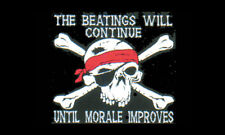 5' x 3' The Beatings Will Continue Until Morale Improves Flag Pirate Banner