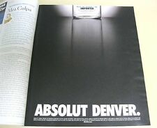 Absolut Denver Vodka Ad-9.5 x 11.5 inches-NY Times Magazine 2001