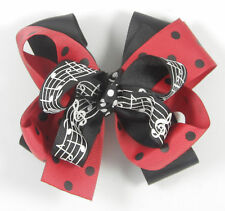 Personalized Embroidered Black Red Polka Dots Music Notes Girl Hair Bow