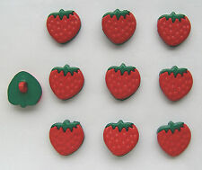 10 SMALL STRAWBERRY Buttons