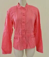 EILEEN FISHER 100% IRISH LINEN Sz Medium Coral Pink Button Shoulder Pad Blazer