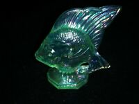 "Fenton Glass Green Iridescent Carnival ANGEL FISH 2.75"" Tall"