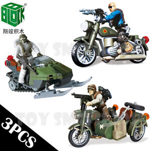 Military Soldiers Snowmobile Sidecar Motorcycle Fit Mega Bloks Minifigures