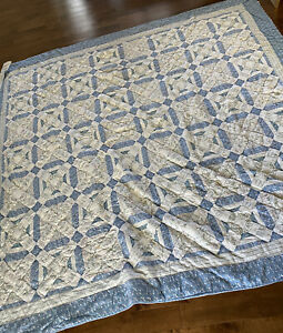 Vintage Handmade Quilt Star Variation Blue White Queen Cottage Country