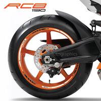 1190 RC8 motorcycle wheel decals rim stickers stripes laminated set white