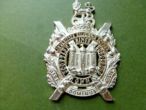 KOSB Officers badge, burnished silver plate and fully fretted