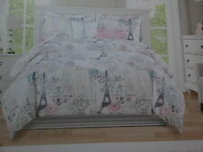2 pc Envogue PARIS Eiffel Tower Rose Twin Duvet Set ~ Grey, Aqua, Pink, Lavender