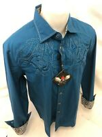 Mens HOUSE of LORDS Button Down Shirt TRIBAL CROSS TEAL BLUE Roar W Class HL1165