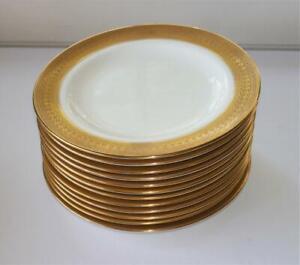 "ROYAL CAULDON ENGLISH BONE CHINA GOLD ENCRUSTED 8"" SALAD PLATES SET 12"
