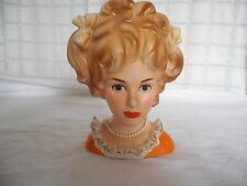 Vinage Inarco porcelain teen girl, woman, lady headvase Orange, pearls E-3523
