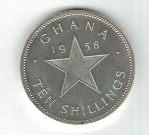 GHANA SILVER PROOF COIN 10 SHILLINGS 1958 YEAR KM#7 INDEPENDENCE