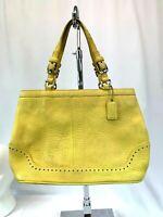 Coach 5055 Hampton Light Yellow Pebbled Soft Leather Tassel Satchel Handbag