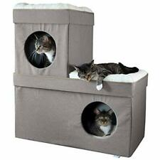 New listing Kitty City Large Stackable Tan Cat Condo Cat Cube Cat House Pop Up Bed Cat Ot.