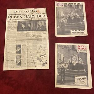 Vintage Royal Memorabilia Newspapers Relating To The Death Of Queen Mary 1953
