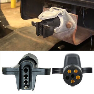 Trailer Light Adapter Plug 6 Way Round to Flat 4 pin Connector Converter RV