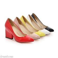 Women's Wedge Wedding Shoes Synthetic Leather High Heel Pointed Pumps AU Sz D688