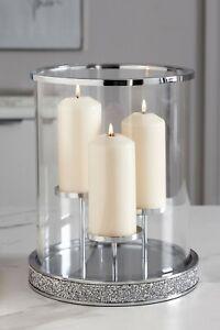 3 Pillar Candle Holder Harper Gem Silver Glass Candle Centerpiece Hurricane 32Cm