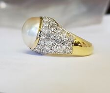 18ct Gold Marbe Pearl And Diamond Ring