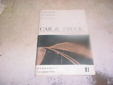 1991 Chrysler Dodge Plymouth Car & Truck Warranty Information Booklet Manual