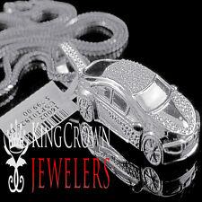 Real Genuine Diamond Ferrari Car Mini Pendant Charm 10K White Gold Finish +Chain