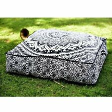 """35"""" Indian Hippie Mandala Floor Pillow Cover Square Ottoman Pouf Cover Daybed"""