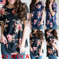 US Women Tie Short Sleeve Floral Tops Blouse Summer Casual Loose Tee T Shirt New