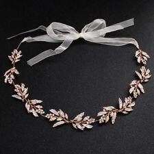 Women Crystal Leaves Bridal Head Piece Headband Handmade Wedding Party Jewelry