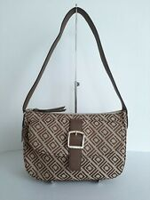 Liz Claiborne Women's Khaki Jacquard Penny Top Zip Shoulder Bag