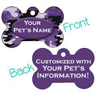 Purple Camo Double Sided Pet Id Dog Tag Personalized for Your Pet