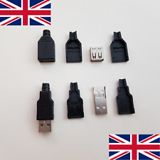 DIY Type-A USB 2.0 Solder Male / Female Plug Connector 4 Pin x2 (UK Stock)