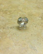 SIMA K GEMSTONE AND SAPPHIRE HEART SHAPE STERLING SILVER RING SIZE 7 HSN $85