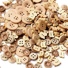 100pcs/lot Mix Shape 2 Holes Natural Color Wooden Pattern Wood Sewing Buttons