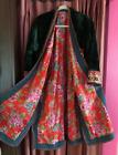 (B) Antique Green Silk Velvet Turkoman Tribal Coat Embroidery Woman