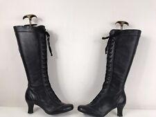 Clarks Leather Millie Victorian Lace Up Zip Kitten Block Heel Knee Boots Black 4