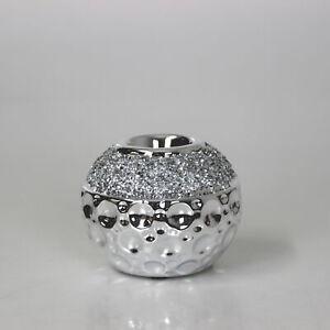 Round Orbital Shaped Tea Light Candle Holder Silver Diamante Sparkle Details