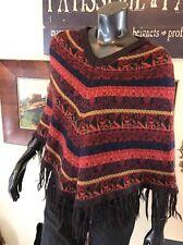 Poncho Alpaca Blend Red Multicolor Striped Short Novica Collection Fringe XS-S