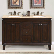 55-inch Travertine Stone Top Cabinet White Sink Bathroom Double Vanity 0208TR