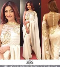 Womens White Golden Rose Floral Sari Georgette Saree Indian Ethnic Shilpa Shetty