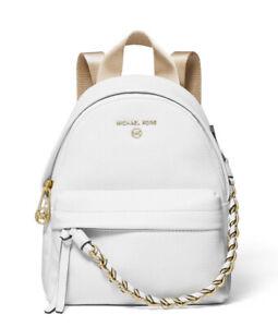 New Michael Kors slater mini leather convertible messenger bag optic white gold