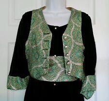Vintage Franklin Simone Green Velvet Maxi Dress Gown 10 Metallic 1970's