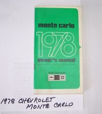 1978 CHEVROLET MONTE CARLO OWNERS MANUAL