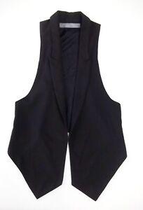 Lovely Ladies waistcoat Zara M Size 12? Black Open Collar Fr Tails Racer Xmas JU