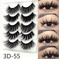 5 Pairs 3D Mink False Eyelashes  Hot Sale Wispy Cross Fake Eye Lashes K01 S Q4F3