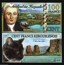 KERGUELEN 100 FRANCS 2012 POLYMER CAT ROCK UNC BILL MONEY HOLOGRAPHIC S/S NOTE